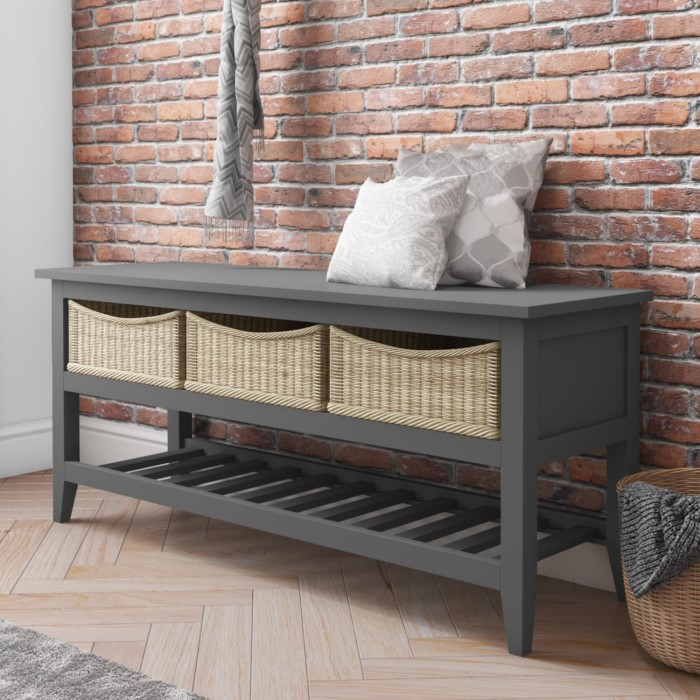cd00b44ec3c2 Grey Painted Wood Shoe Rack Storage Bench with Wicker Baskets - Elms  Farmhouse