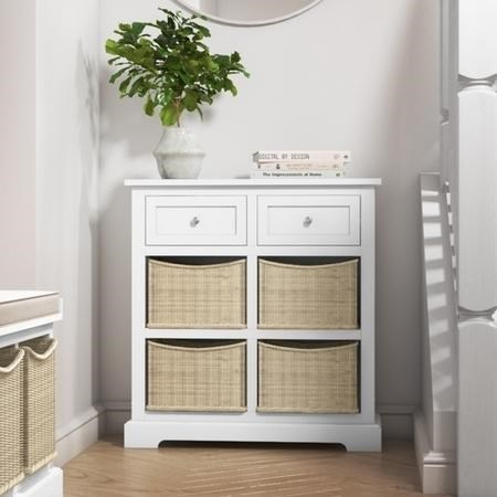 Elms Farmhouse White Storage Sideboard with Wicker Baskets