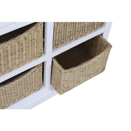 Elms Farmhouse White Hall Storage Sideboard with Shoe Storage Wicker Baskets