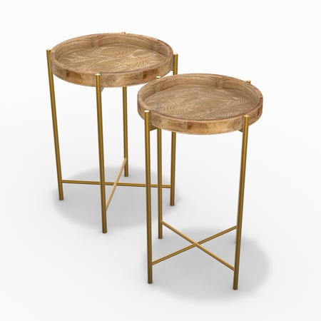 Set of 2 Wooden Side Table with Gold Legs - Elis