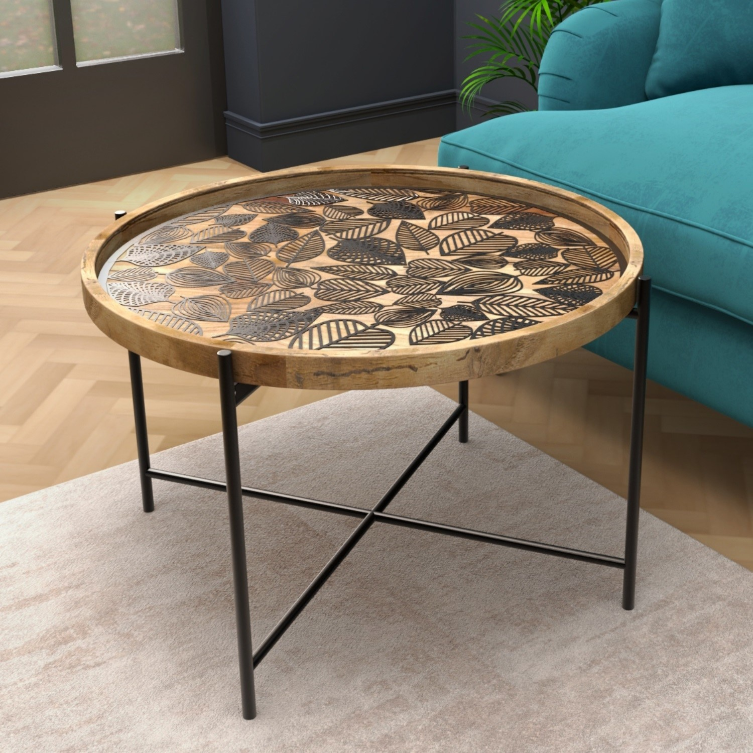 Picture of: Round Coffee Table Wood Black Metal Furniture123