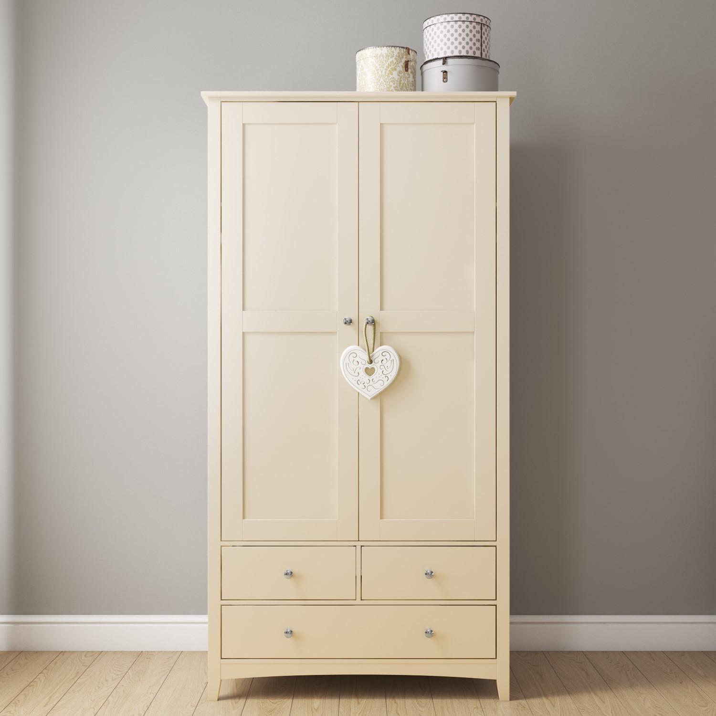 Emery 2 Door 3 Drawer Combi Wardrobe In Cream/Ivory