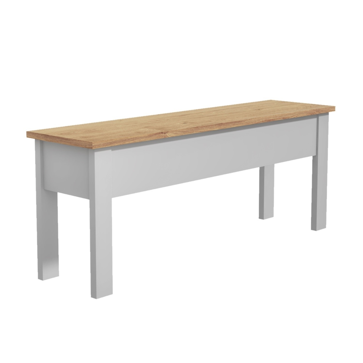 Grey Dining Bench with Storage & Pine Top - Seats 2 - Emerso