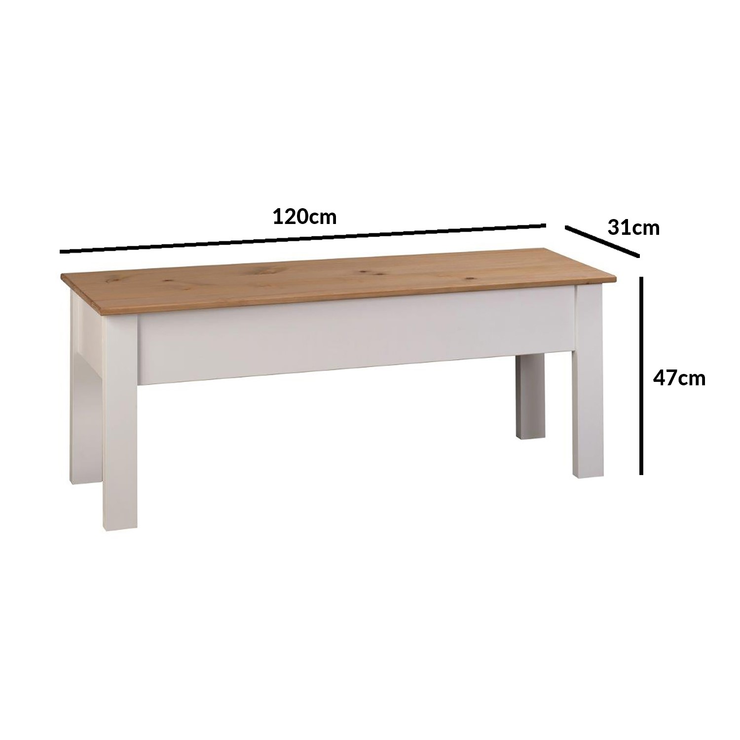 Grey Solid Wood Dining Bench with Storage   Seats 9   Emerson