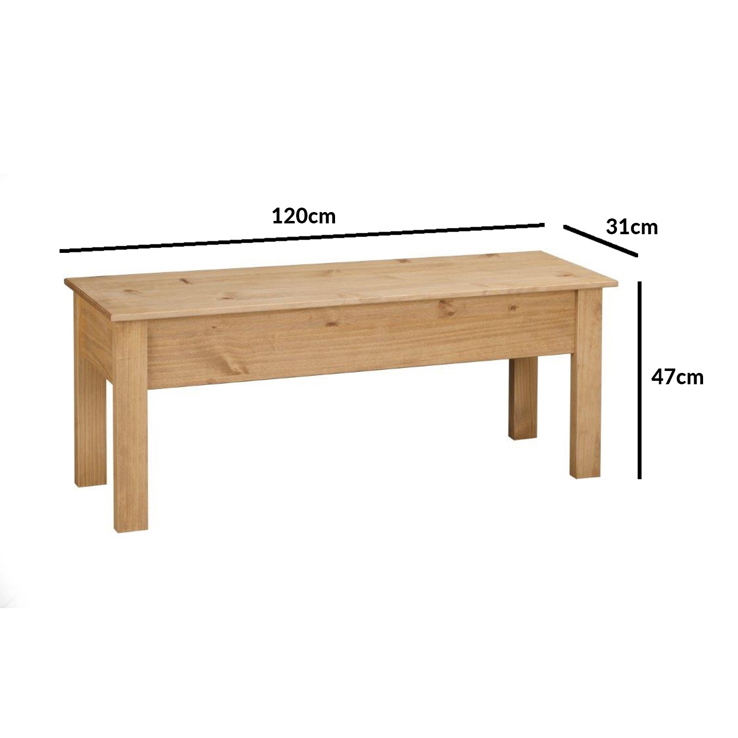 Solid Pine Dining Bench With Storage Seats 2 Emerson Furniture123