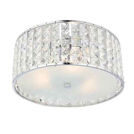 Belfont Flush Ceiling Light with Chrome Plate & Crystal Effect Finish IP44