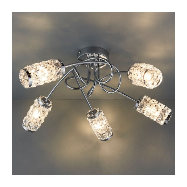 Colby 5 Light Semi Flush Ceiling Light with Crystal Effect IP44