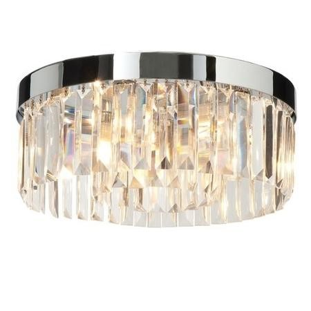 LED Ceiling Light with Chrome Crystals & Flush Fitting - Crystal