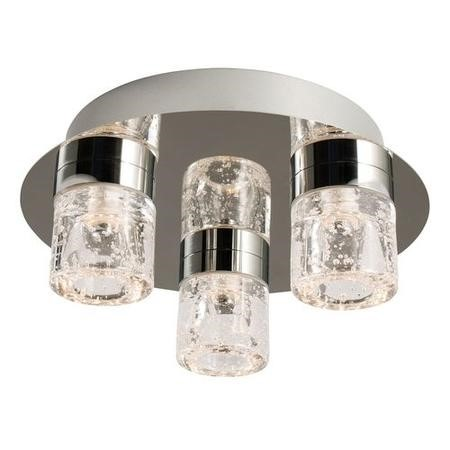 Ceiling Light with Bubbled Glass Shades & Flush Fitting - Imperial
