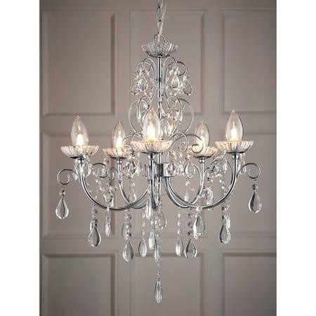 Tabitha 5 Light Chandelier Ceiling Light with Chrome & Crystal Finish - Bathroom