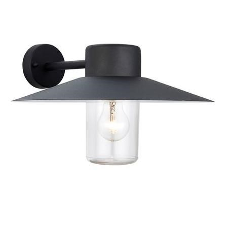 Fenwick Black & Clear Glass Dimmable Outdoor Wall Light IP44