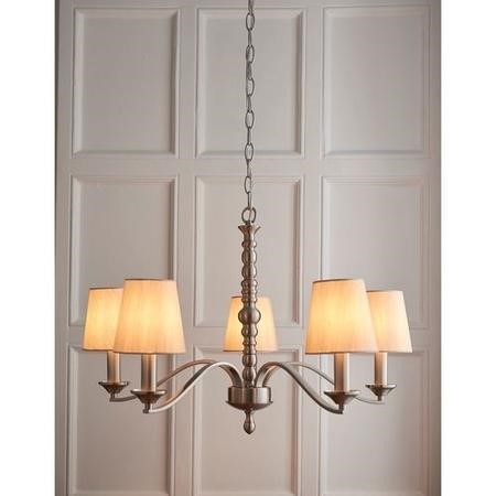 Astaire 5 Light Ceiling Pendant Light in Satin Nickel with Natural Cotton Shades