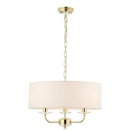 3 Light Chandelier in Brass & Vintage White Shade - Nixon