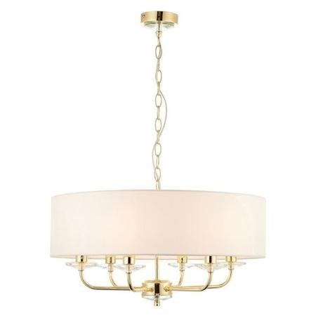 Brass Pendant with 6 Lights in White - Nixon