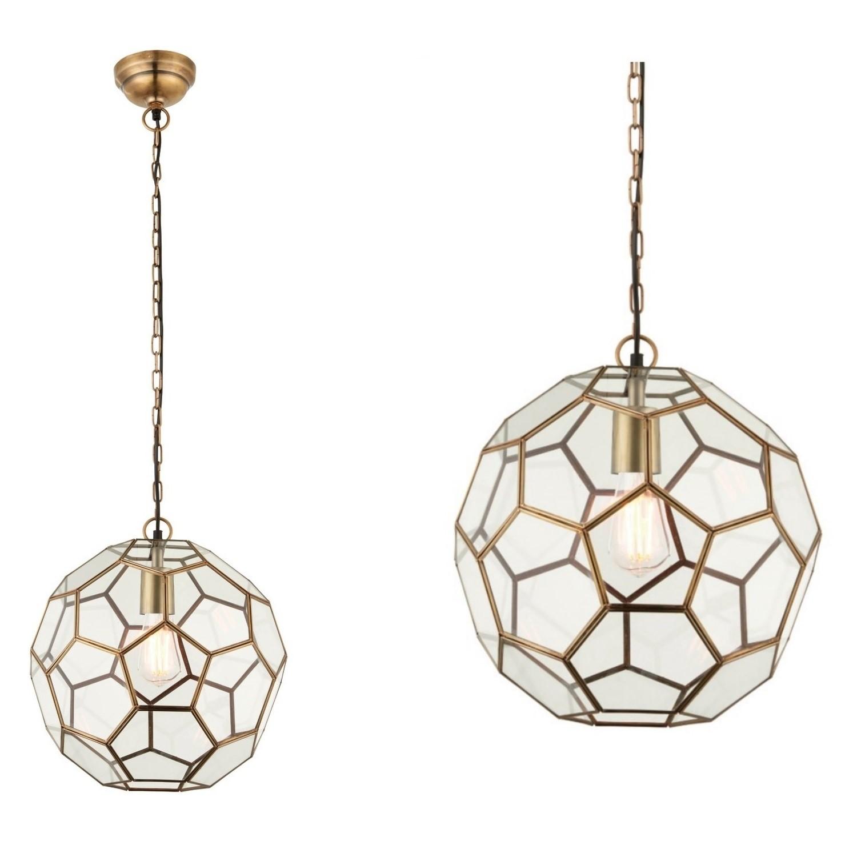 Gold Pendant Light with Antique Brass Geometric Design - Mie