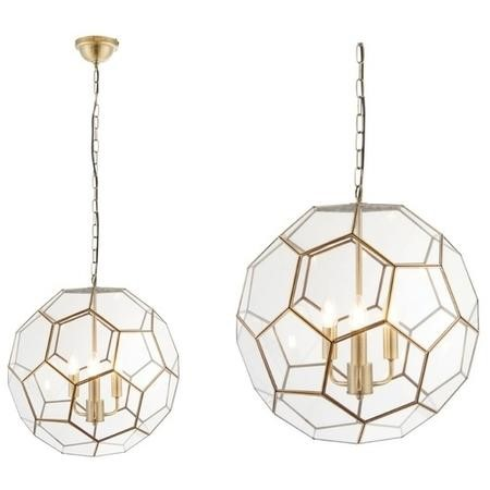 Gold Pendant Light with 3 Bulbs & Geometric Design - Miele