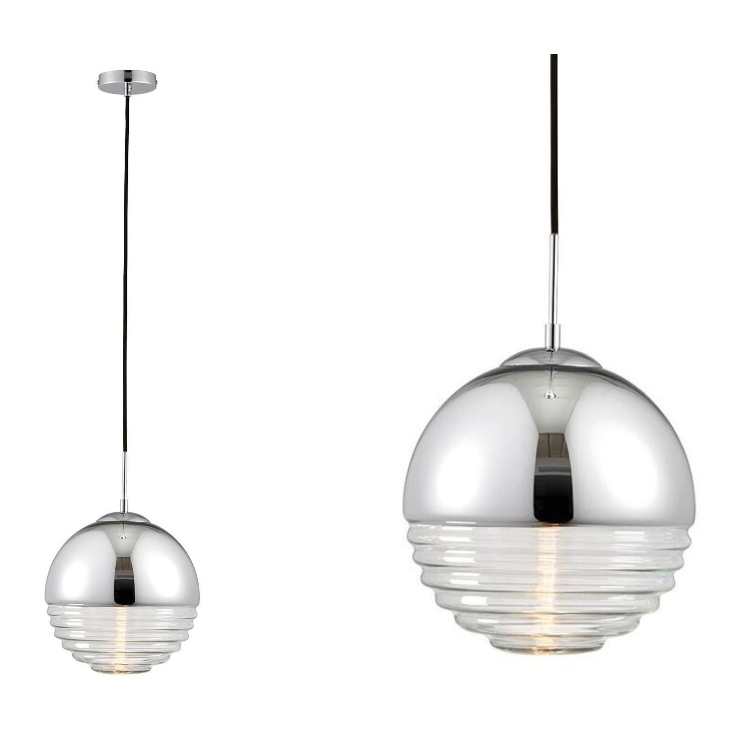 Chrome Pendant Light With Ribbed Glass Shade Paloma Furniture123