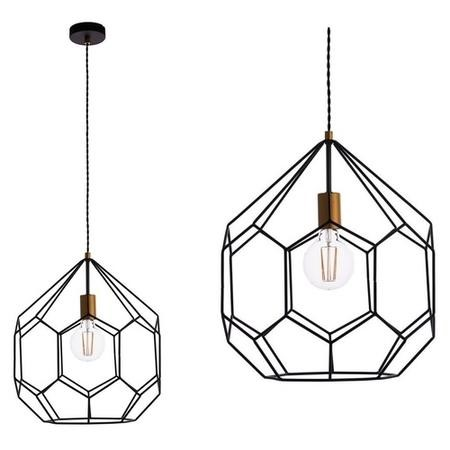 Geometric Pendant Light with Matt Black & Satin Gold Finish - Deco