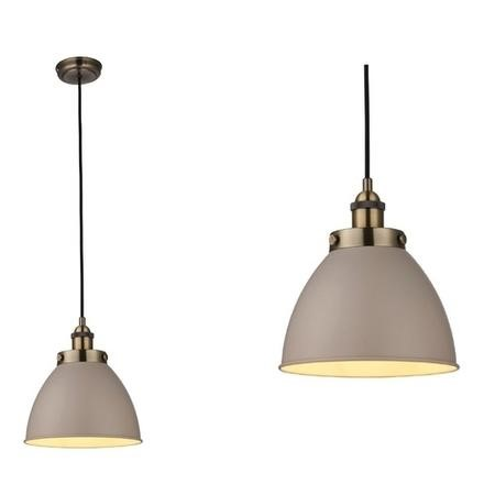Pendant Light in Taupe & Antique Brass - Franklin
