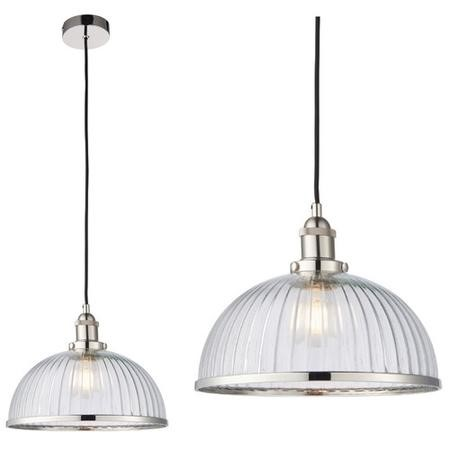 Chrome Pendant Light with Clear Ribbed Glass Shade - Hansen