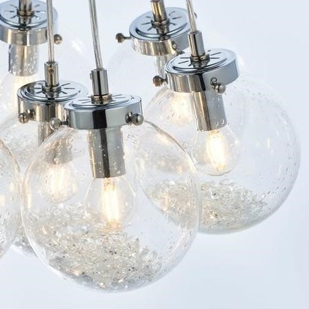 Harbour 7 Light Ceiling Light with Bubbled Glass Pendants