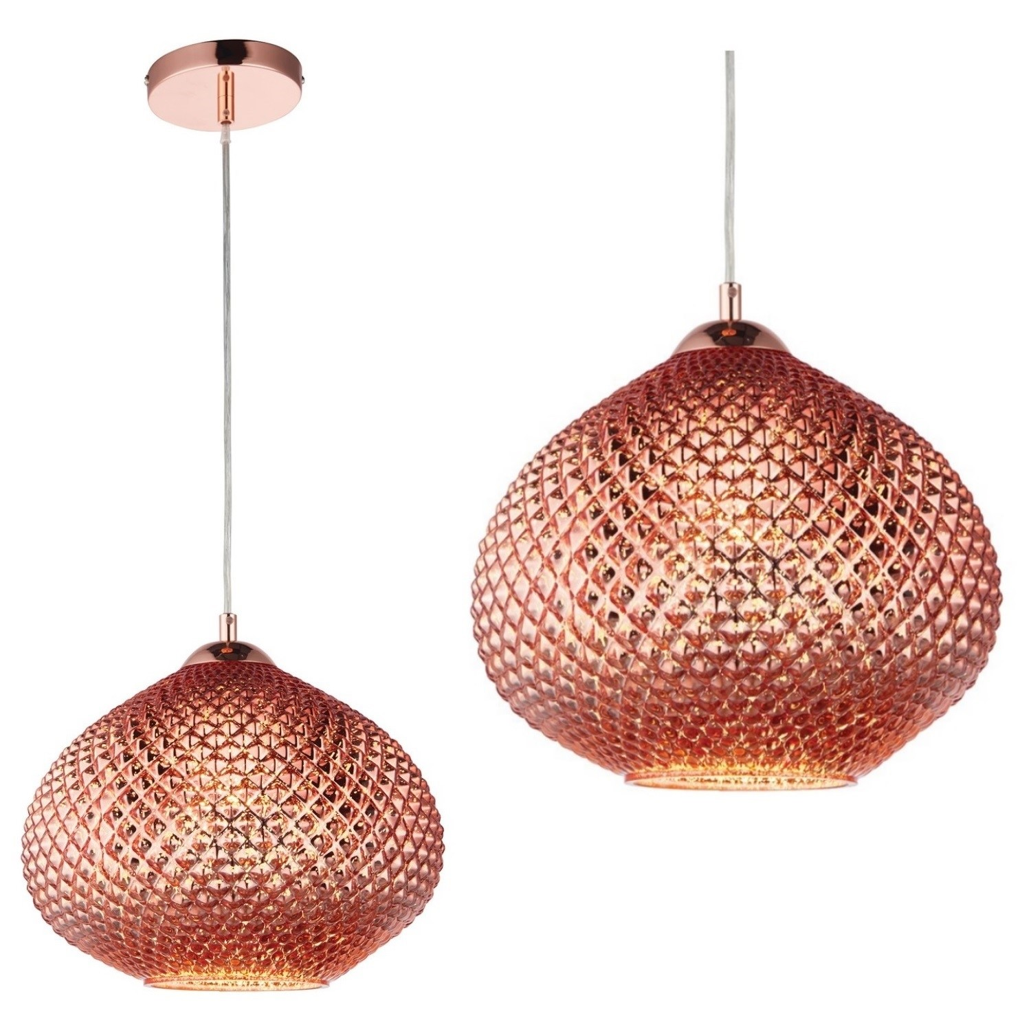 Livia Ceiling Pendant Light With Rose Gold Glass Finish Modern Style Furniture123