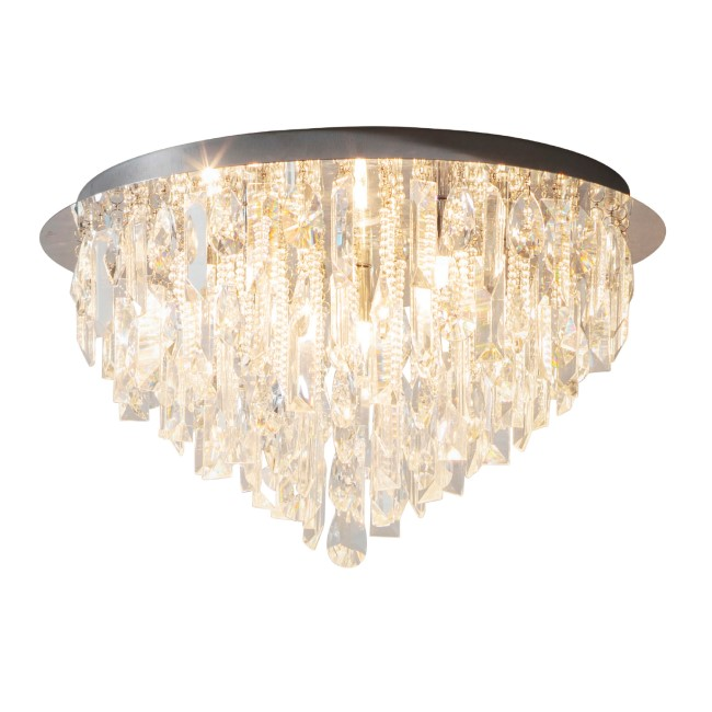 Ceiling Light with Clear Crystals & Flush Fitting - Siena