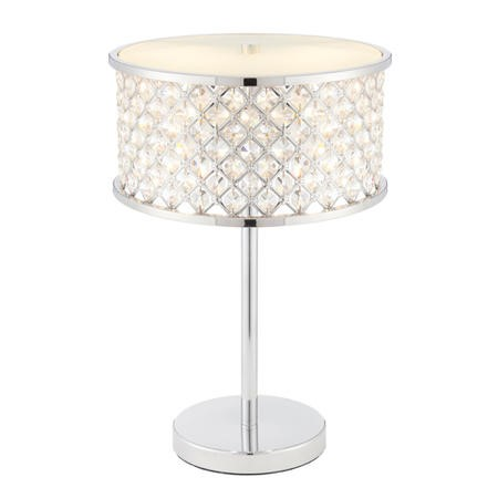 Table Lamp with Chrome Plate & Clear Crystal Glass - Hudson