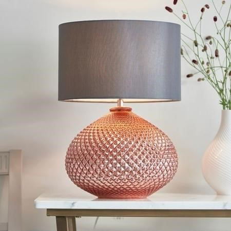 Table Lamp with Rose Gold Base & Grey Faux Silk Shade - Livia