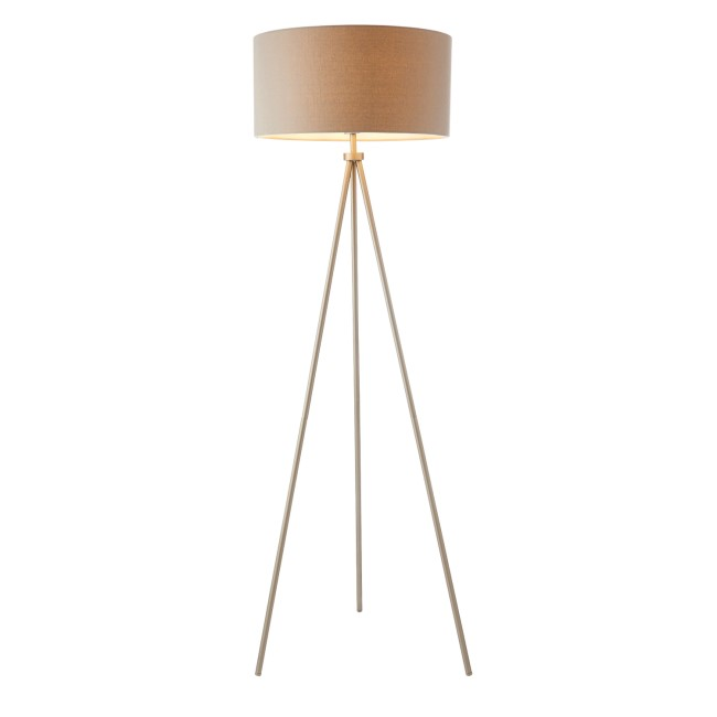 Tri Floor Lamp with Matt Nickel Legs & Grey Linen Effect Light Shade