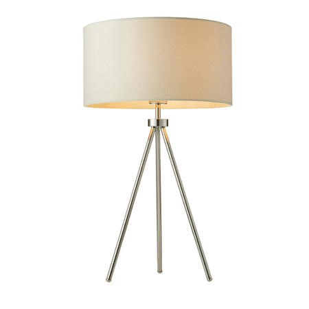 Table Lamp with Chrome Plate Legs & Ivory Linen Shade - Tri