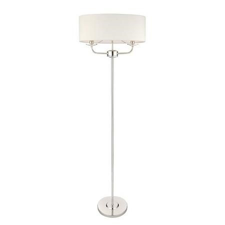 Floor Lamp with White Shade & Steel Base - Nixon