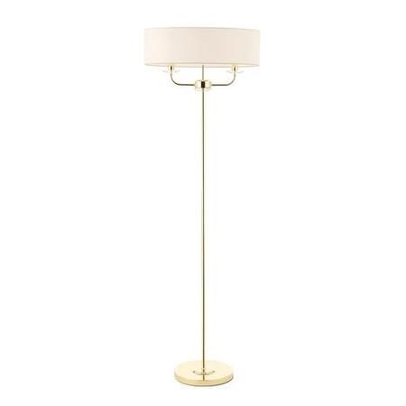 Floor Lamp in Brass with White Silk Shade - Nixon