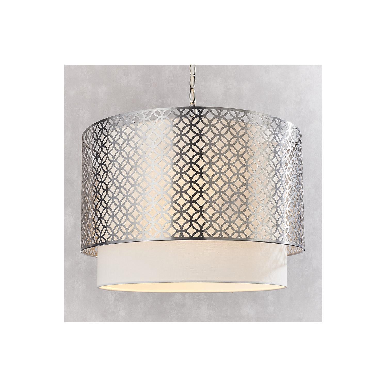 Gilli Nickel and White Linen 3 Light Pendant