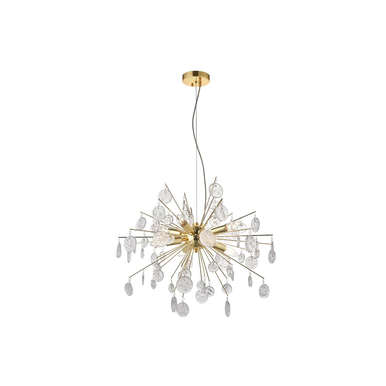 Calla Gold and Glass 8 Light Pendant