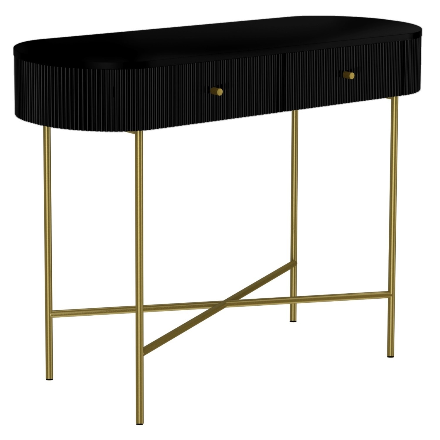 Enzo Groove Detail 2 Drawer Dressing Table In Black And Gold Art Deco Style Furniture123
