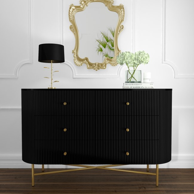 Enzo Groove Detail 6 Drawer Wide Chest of Drawers in Black and Gold - Art Deco Style