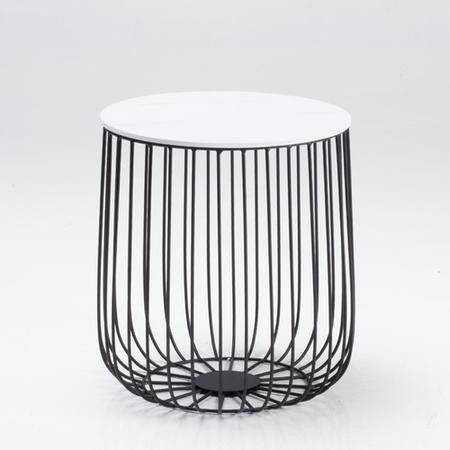 LPD Enzo SMall Cage Table in Black with Marble Top