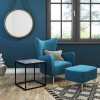 Black Metal Living Room Table with Blue Tiled Finish - Estelle