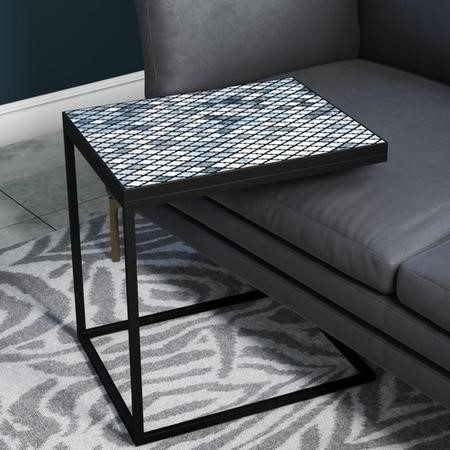 Black Metal Sofa Side Table with Blue Tiled Finish - Estelle