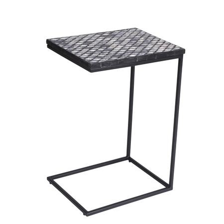 Estelle Sofa Table in Black & White with Moroccan Patterned Design