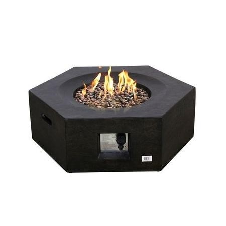 Terrafab Hexagon Gas Garden Table Fire Pit in Black with Lava Stones