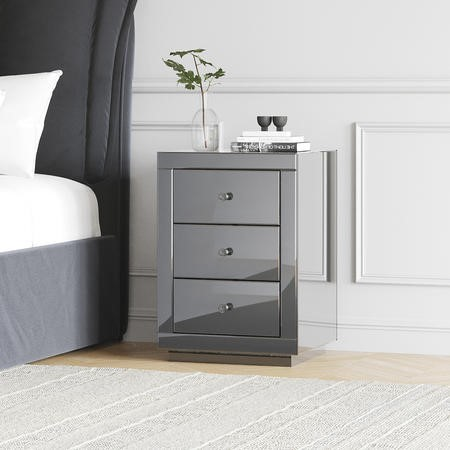 Eva Grey Mirrored 3 Drawer Bedside Table with Crystal Effect Handles