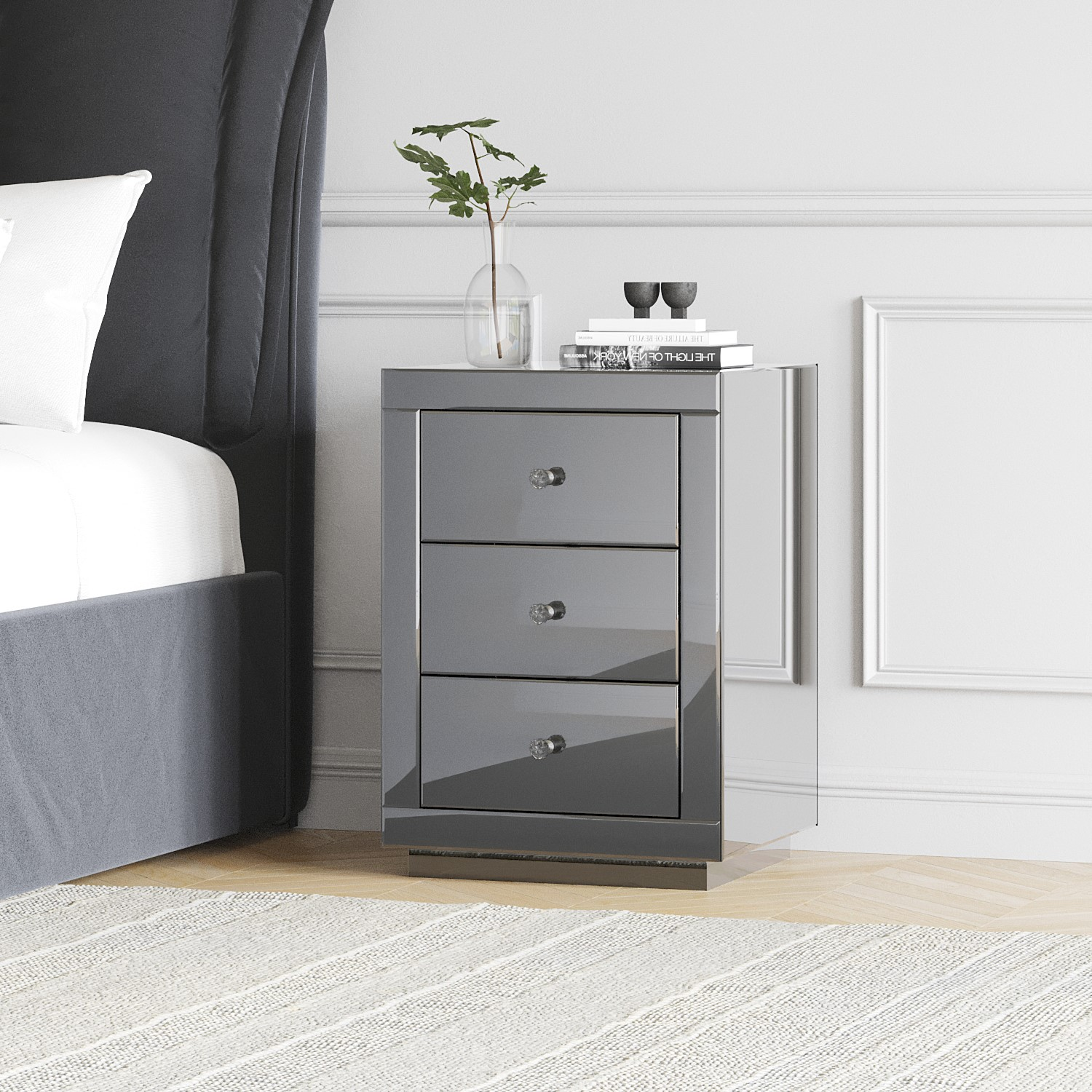 Precise ✨ Silver Black Mirrored Bedside Table Storage Drawer Crystal Handle Shelf ✨ Modern Techniques Nightstands Home & Garden