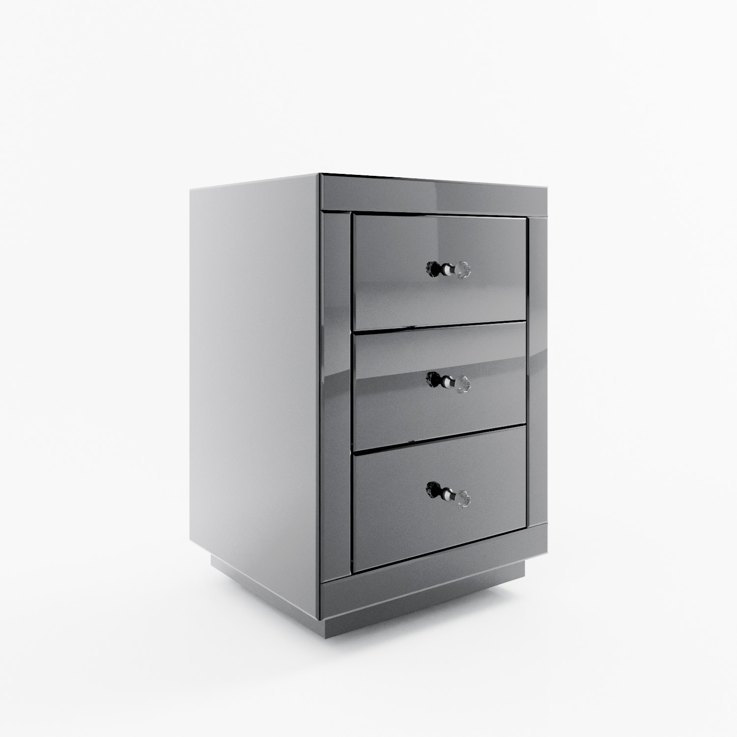 Eva Grey Mirrored 3 Drawer Bedside Table With Crystal Effect Handles Furniture123