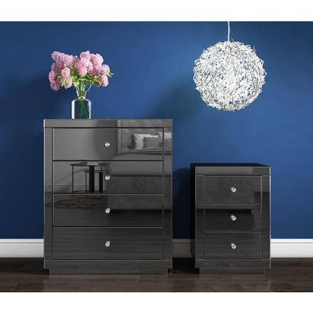 Eva Grey Mirrored 2 Drawer Dressing Table with Crystal Effect Handles