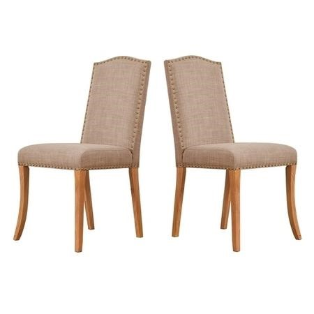 Evesham Pair of Beige Dining Chairs with Classic Stud Detail