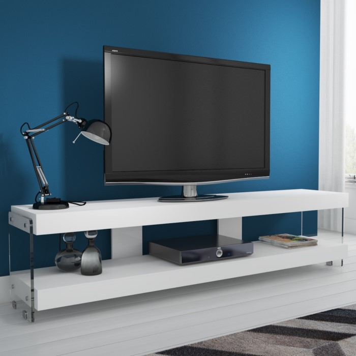 Evoque White High Gloss Tv Stand With Glass Sides Floating Effect