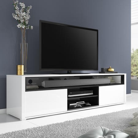 Neo White High Gloss Tv Unit With Soundbar Shelf