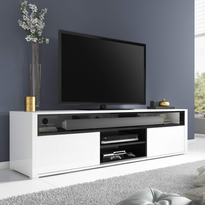Large White High Gloss Tv Unit With Soundbar Shelf Tv S